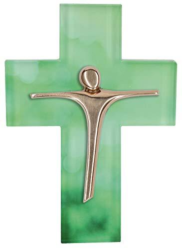 Butzon & Bercker Glaskreuz Kruzifix Kreuz Bronzekorpus Anke Cöhnen Jesus Glaube Wandkreuz
