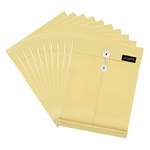 キュメントファイルケース a4 封筒型 書類ケース マチ付き 縦型 防水 プラスチック 保存袋 資料 収納バッグ フォルダーケース クリアホルダー 大容量 ファイルポケット オフィス 事務用品 10枚セット カーキ