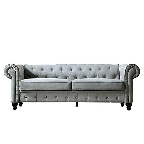 80 Inch Width Couch for Living Room,Direct Arvilla Upholstered Chesterfield Sofa, Velvet Surface (Gray + Velvet + 28.15'' H x 80'' W x 30'' D)