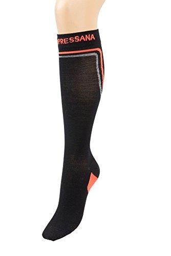 Compressana sport inverno - Sport-Kompressionstrümpfe mit Merino-Wolle und Seide - für Wärme und Komfort - Kompressionseffekt Ø 18 mmHg - Größe IV - Farbe schwarz