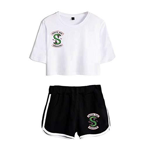 Xsayjia Riverdale Snake TV Crop Top T-Shirts Ensembles Shorts et Haut Fille South Side Serpent Imprimé