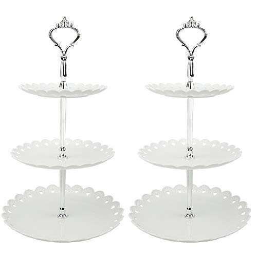LIONWEI LIONWELI 3-tier White Silver Plastic Dessert Stand Pastry Stand Cake Stand Cupcake Stand Holder Serving Platter for Party Wedding Home Decor-Small-set of 2