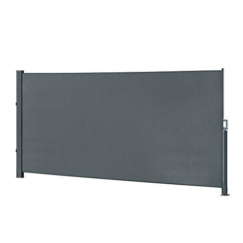 Oskar ALU Seitenmarkise Sichtschutz Sonnenschutz Seitenrollo Markise 280g/m² (160x350 cm, Anthrazit)