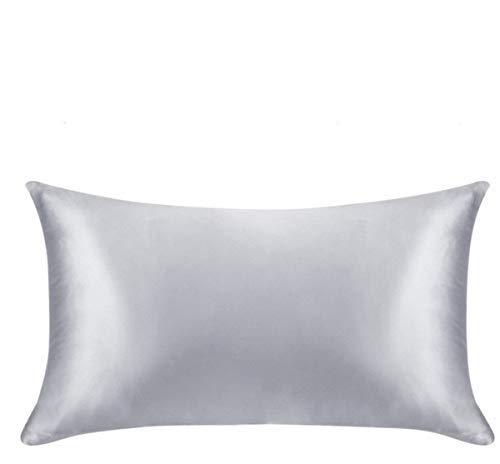 FLCA Federa in 100% pura seta di gelso 19 momme, in seta Charmeuse su entrambi i lati, ipoallergenica, con cerniera nascosta, 50 cm x 75 cm, confezione da 1 pezzo, Seta, Argento, Standard(50x75cm)