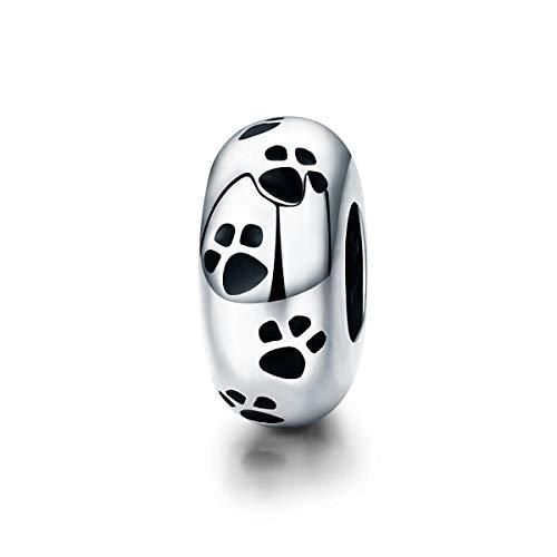 FeatherWish - Ciondolo distanziatore in argento Sterling 925, con scritta'I Love My Dog', per braccialetti o collane Pandora, 3 mm