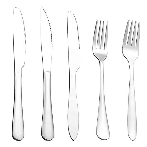 OUDEING Casa Vajillas Conjunto de Cubiertos de 20 Piezas, Servicio para 4, Incluyendo Cuchillos y Tenedores, Espejo pulido-Silver30pcs