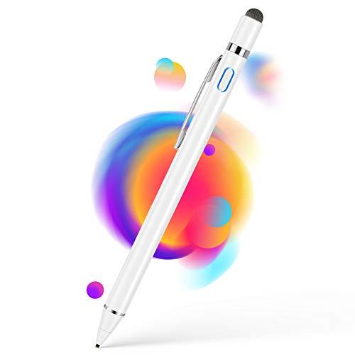 Aktiver Stylus Pen für sämtliche Touchscreens, 1,5mm Feiner Spitze Tablet Stift, Wiederaufladbar Eingabestift Kompatibel mit iPad iPhone Huawei Samsung Smartphones und Anderen Touchscreen Geräten Weiß