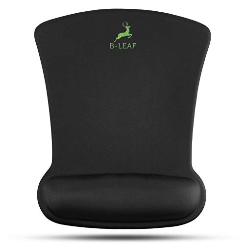 B-LEAF Mouse Pad Wrist Support Desk Mat - Ergonomic Resting Gel Mouse Pad - Pain Relief Mousepad with Non-Slip PU Base- Black (8 x 9.9 Inches)