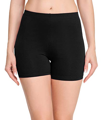 Merry Style Damen Shorts Radlerhose Unterhose Hotpants Kurze Hose Boxershorts aus Baumwolle MS10-392 (Schwarz, L)