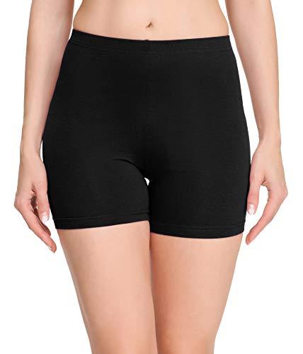 Merry Style Damen Shorts Radlerhose Unterhose Hotpants Kurze Hose Boxershorts aus Baumwolle MS10-392(Schwarz,L)