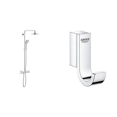 Grohe 27296001 Euphoria 180 - Sistema de ducha con termostato, alcachofa de 180mm y teleducha tres chorros de 110mm + Grohe Selection - Colgador, cromo (41039000)