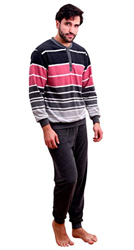 NORMANN-Wäschefabrik Edler Herren Frottee Pyjama mit Bündchen und Knopfleiste am Hals - auch in Übergrössen, Größe2:52, Farbe:grau