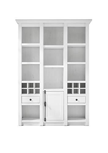 Newfurn buffetkast landhuis buffet kast keukenkast vitrinekast II 147x207x 45 cm (BxHxD) II [Max.Three] in grenen wit imitatie / grenen wit replica woonkamer eetkamer
