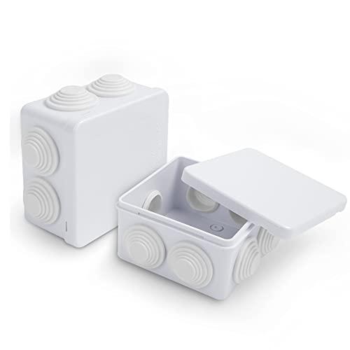 Doiido 2 Pezzi Scatola di Derivazione Elettrica in Plastica ABS Cassetta di Derivazione da Parete Impermeabile per Esterni Fai da Te Scatola di Giunzione Antipolvere Bianco (85x85x50mm)