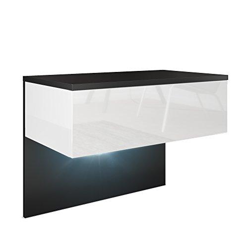Vladon Nachttisch Nachtkonsole Sleep, Korpus in Schwarz matt/Front und Seiten in Weiß Hochglanz, inkl. LED Beleuchtung