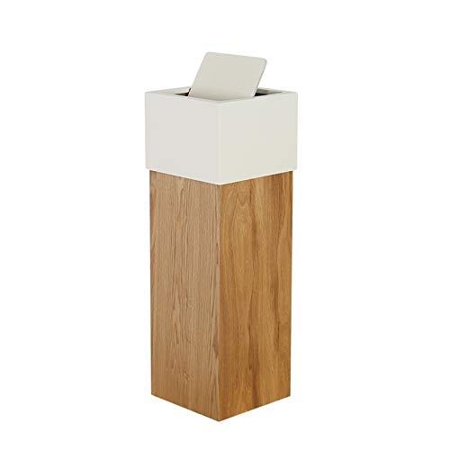 Contenedor de residuos Cuadrada de la basura de madera Can Manera moderna del columpio tipo de tapa del bote de basura de madera Papelera Papelera de reciclaje for Office Salón Dormitorio Papelera