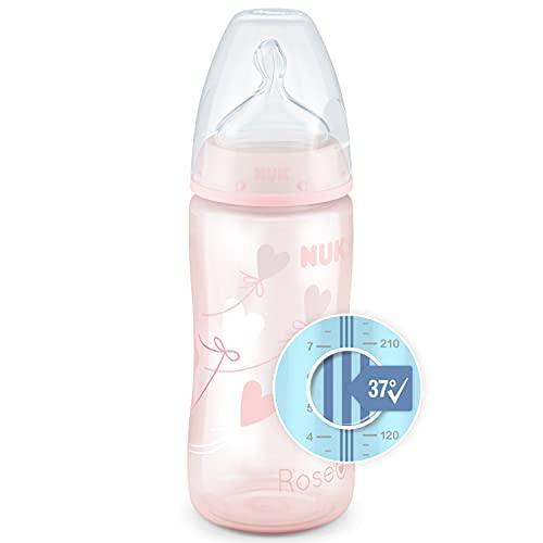 NUK First Choice+ Babyflasche | 0–6Monate | Temperature Control Anzeige |300 ml Flasche mit Anti-KoliK-Ventil | BPA-frei | Trinksauger aus Silikon | rosa