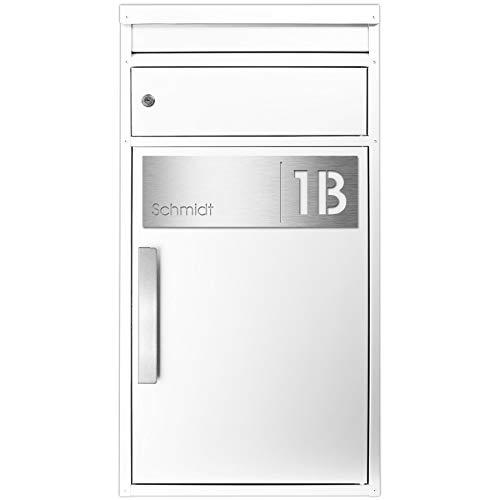 Paketbriefkasten SafePost 65MS inkl. Gravur Namensschild Edelstahl V4A/weiß RAL 9010 Design-Paketkasten für alle Paketdienste Paketbox mit Briefkasten modern Standbriefkasten