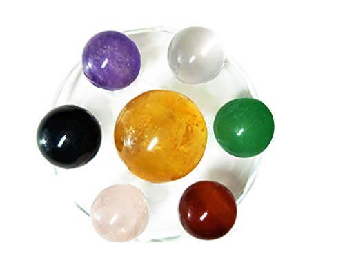 Set Of 7 Natural Crystal Balls Made Of Yellow Calcite, Black Obsidian, Rose Quartz, Clear Quartz, Green Aventurine, Amethyst &Amp; Red Agate, For Chakra Fengshui (7 Crystal Spheres Plus Display Plate)