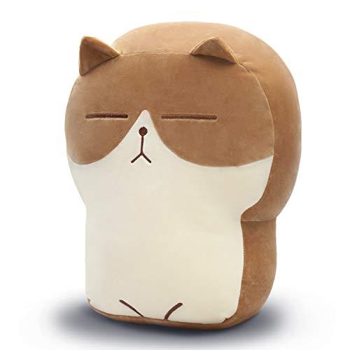 DENTRUN Stuffed Cat Plush Pillow, Big Hugging Chubby Cat Stuffed Animals, Fluffy Soft Toast Bread Sofa Cushion Stuffed Doll Toy for Kids Adults Gift Home Bed Room Decor, 11.81'/15.74'