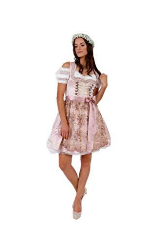 Krüger Dirndl Rosalia 50er oder 60er Länge Rose rosa Creme (50er Länge, 44)