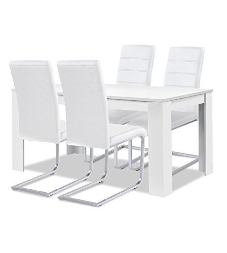 agionda® Esstisch Stuhlset : 1 x Esstisch Toledo Weiss 120 x 80 4 Freischwinger JAN PIET Kunstleder Weiss
