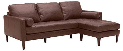 Rivet Aiden Mid-Century Leather Sectional with Tapered Wood Legs, 86'W, Dark Brown