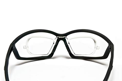 BERTONI Sportbrille Sehstärke mit Adapter für brillenträger für Radsport Motorrad Ski Golf Lauf Running - AF100 Windschutz für Brillenträger (Transparent)