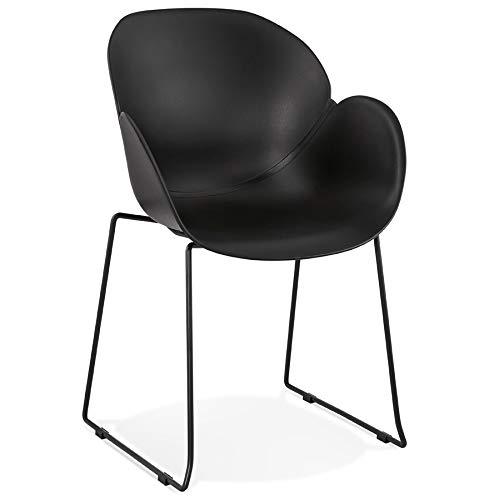 Alterego Chaise avec accoudoirs 'Zakary' Noire avec Pied en métal - intérieur/extérieur