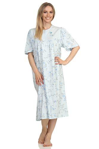Creative by Normann Damen Nachthemd Kurzarm mit 105 cm Länge und Kopfleiste am Hals - 65276, Farbe:hellblau, Größe:48/50