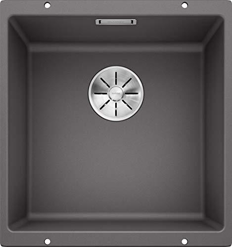 BLANCO SUBLINE 400-U – Fregadero de Granito para Armarios Bajos de 50 cm de Ancho – Bajo Encimera – De SILGRANIT – Gris – 523423