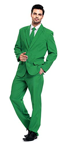 U LOOK UGLY TODAY Men's Party Suit Solid Color Prom Suit for Themed Party Events Clubbing Jacket with Tie Pants Medium Green-Medium