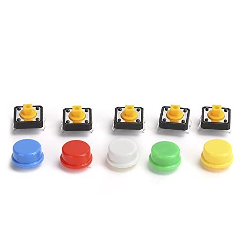 ASHATA 25 Piezas 12x12x7,3 mm botón táctil táctil con microinterruptor de Tapa Redonda, Interruptor de PCB SMD momentáneo con Tapa, microinterruptor para Productos electrónicos de Bricolaje
