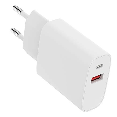 Amarion Ladegerät für iPhone - 20W USB-C und USB Netzteil [2in1] kompaktes Ladegerät, USB-C Netzteil kompatibel für iPhone 12/12 Mini/12 Pro/12 Pro Max, Galaxy, Pixel 4/3, iPad Pro, AirPods, UVM.