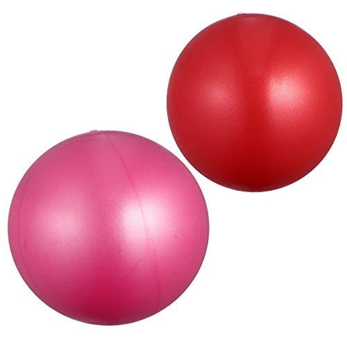 Abaodam 2 pelotas de yoga esmeriladas de espesor, antiestallidos, para fitness, fitness, gimnasio, 15 – 35 cm, tamaño al azar, rojo + rosa, 2 unidades