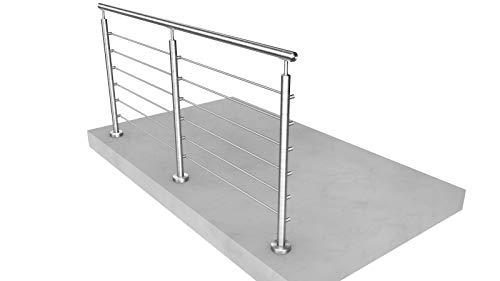 Edelstahl Reling-Geländer. L-Form (1x90° Ecke). Bausatz DIY. aufgeschraubte Montage 6 m