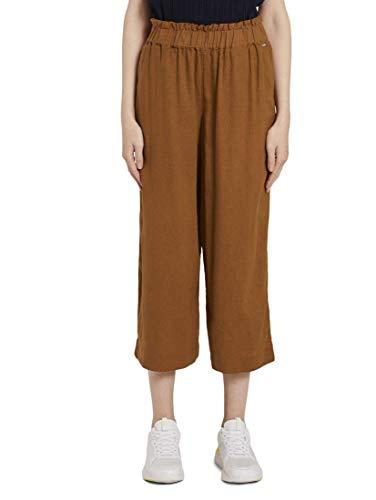TOM TAILOR Denim Damen Hosen & Chino Culotte mit elastischem Bund Mango Brown,XXL,22110,8000