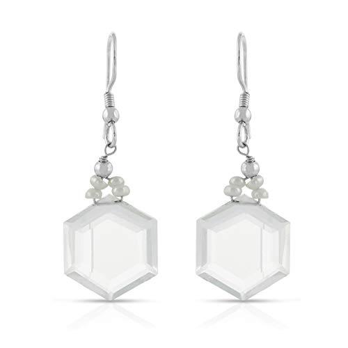 Pendiente de gancho colgante / colgante con forma hexagonal de perla cultural y cuarzo blanco en plata de ley 925 para mujeres y niñas