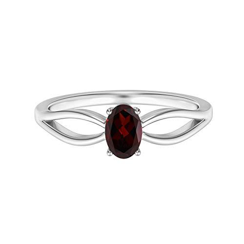 Shine Jewel 1.00 Ctw Garnet Gemstone 925 Anillo apilable de Solitario de Boda para Mujer (21)