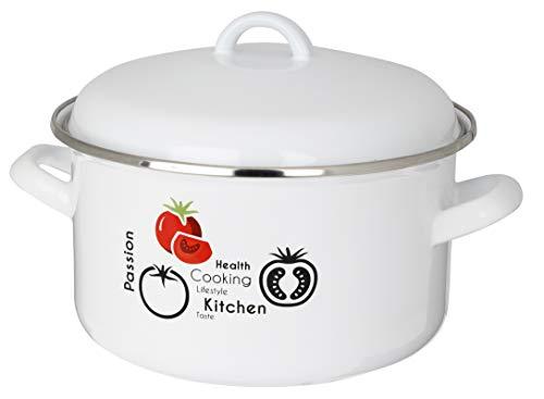 KADAX Kochtopf mit Deckel, Topf, Stahl-Emaille, Suppentopf mit ergonomischen Griffe, Gemüsetopf für alle Herdarten, auch Induktion, Fleischtopf, stabil, rund (18cm, 2.5L, Weiß)