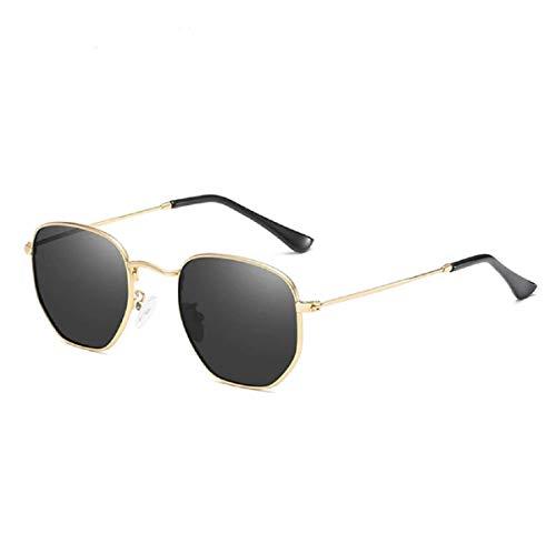Gafas de sol hexagonales para mujer estilo retro hippy vintage 2019 Ibiza Festival Negro Negro Y Oro talla única