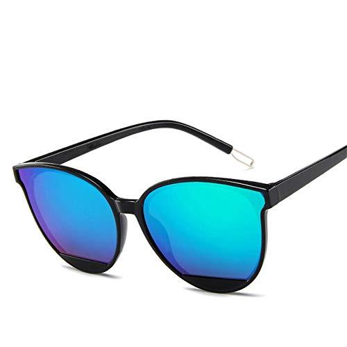 Gafas de sol de moda para mujer vintage de metal espejo clásico vintage (lentes de color: negroverde)