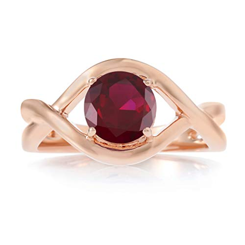 Round-Cut Gemstone Twisted Split Shank Band Solitaire Ring by Birthstone