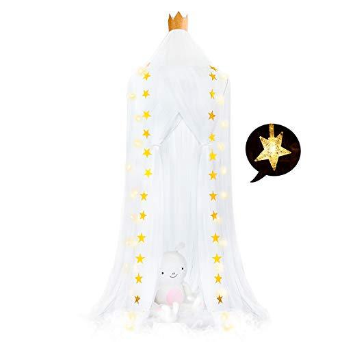 FRIDEKO HOME Cama con dosel princesa Ren Mosquitera gasa Mini Bebé que juega Beach cortinas de la tienda para el hogar del cuarto de niños del hotel para luces de cadena estrella blanca + 6M 240 cm