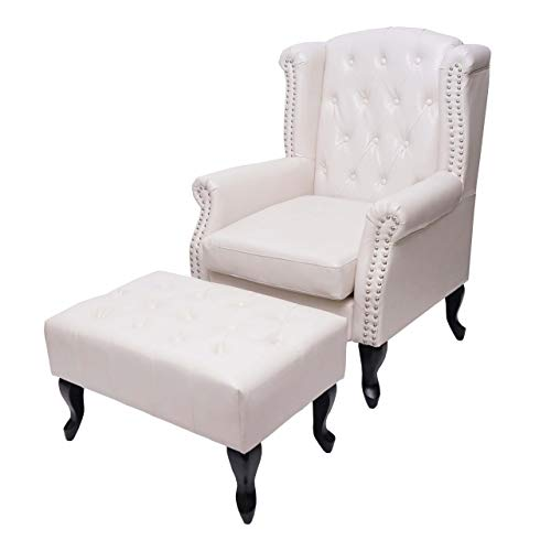 Mendler Sessel Relaxsessel Clubsessel Ohrensessel Chesterfield, Kunstleder - Creme-weiß mit Ottomane