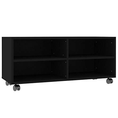 vidaXL TV Schrank mit Rollen Lowboard Fernsehtisch TV Möbel Board Tisch Fernsehschrank Sideboard HiFi-Schrank Schwarz 90x35x35cm Spanplatte