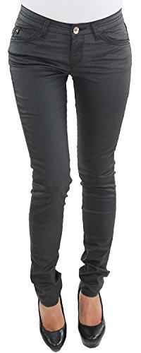 Damen Kunstlederhose Röhrenhose Skinny Leder Look Slim Fit Lederimitat Bikerhose Schwarz J2028-01 XS/34