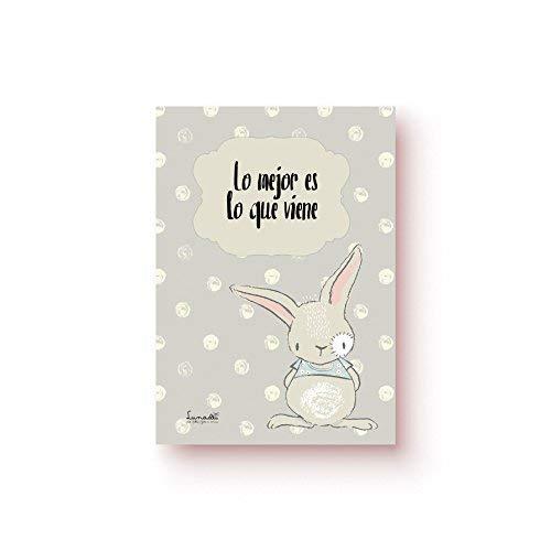 Lunadei Tarjeta de Felicitación con sobre | Ideal para Nacimiento o Bautizo | Frase: Lo Mejor es lo Que Viene | Cartulina (350 g/m2) | Formato A6 (10,5 cm x 14,8 cm)