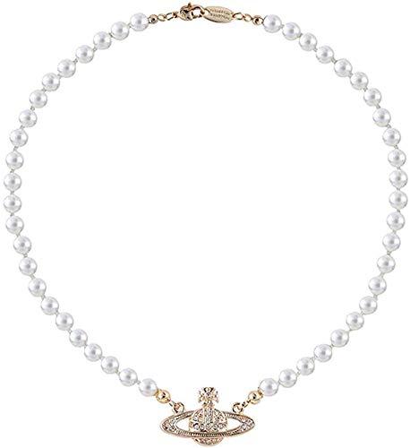 Fufuyme Collar de Perlas de Saturno de Plata Dorada Collares de Perlas Blancas, Collar de Perlas Blancas de Diamantes de Imitación de Cristal Saturno Planeta, Collares de Perlas de Perlas Blancas