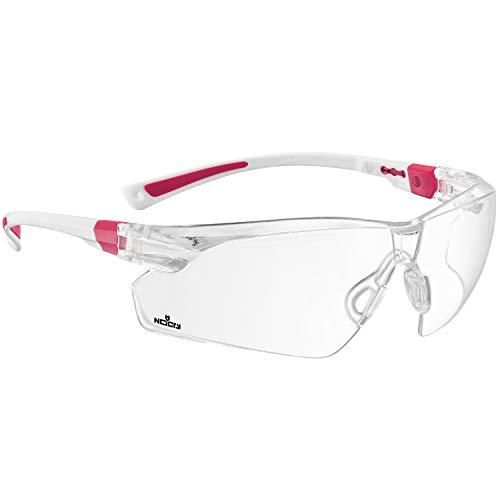 NoCry Schutzbrille mit Durchsichtigen Anti-Beschlag und kratzbeständigen Gläsern, Seitenschutz und Rutschfesten Bügeln, UV-Schutz, EN166/EN170 zertifiziert. Verstellbar (weiß & rosa)